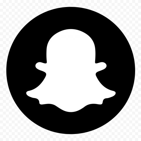 Round Snapchat Logo Icon Ghost Black & White PNG