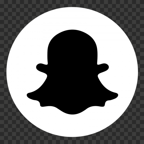 Round Snapchat Logo Icon Ghost Black And White PNG