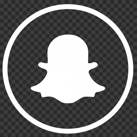 Round Outline Snapchat Logo Icon Ghost White PNG