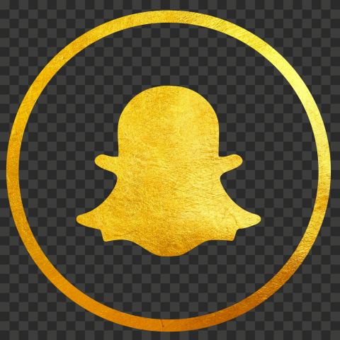 HD Golden Gold Round Outline Snapchat Logo Icon Ghost PNG