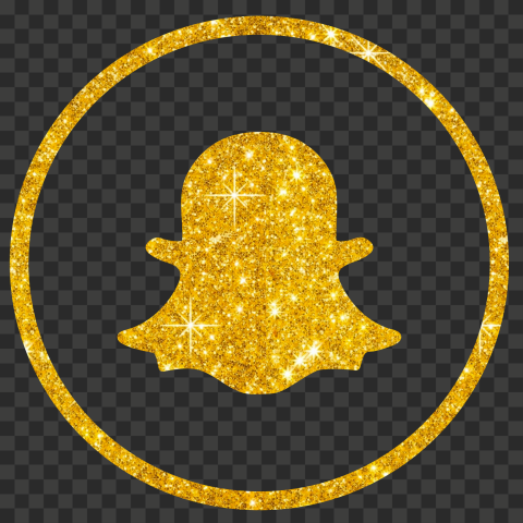 Yellow Gold Glitter Round Outline Snapchat Logo Icon PNG