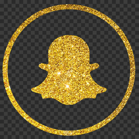 Yellow Golden Glitter Round Outline Snapchat Logo Icon PNG