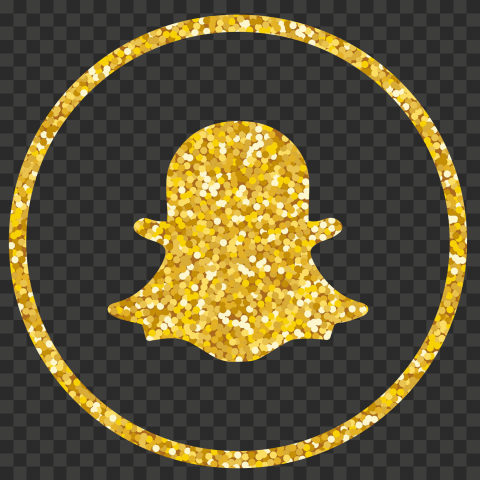 Yellow Glitter Round Outline Snapchat Logo Icon PNG