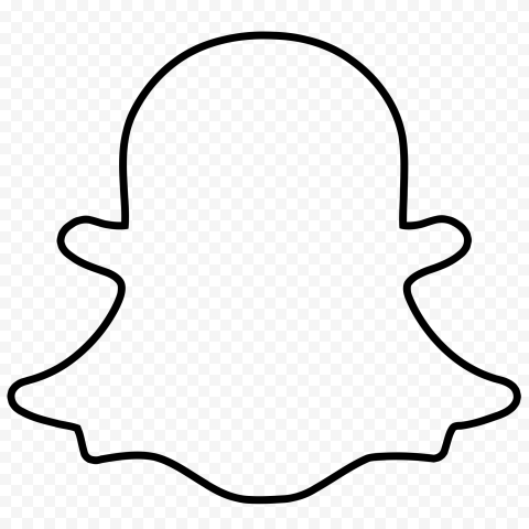 HD Black Snapchat Outline Ghost Logo Icon Symbol PNG