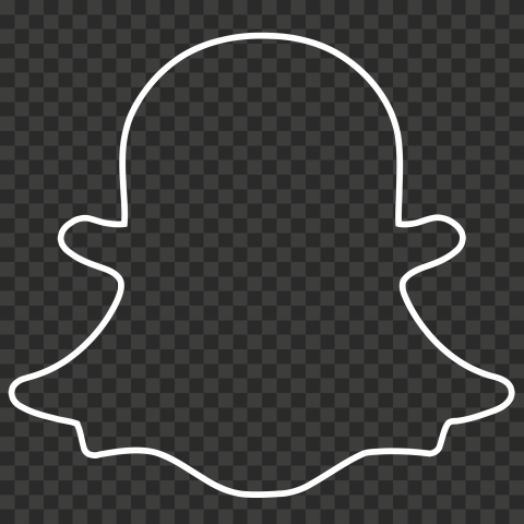 HD White Snapchat Outline Ghost Logo Icon Symbol PNG