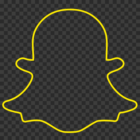 HD Yellow Snapchat Outline Ghost Logo Icon Symbol PNG