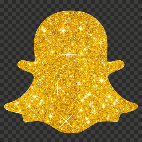 HD Gold Glitter Snapchat Ghost Logo Icon Symbol PNG