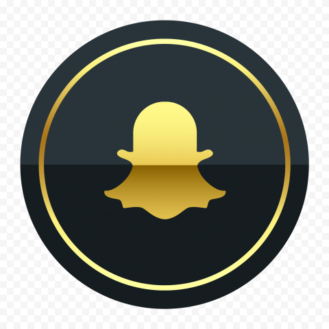 HD Luxury Snapchat Black & Gold Round Icon PNG