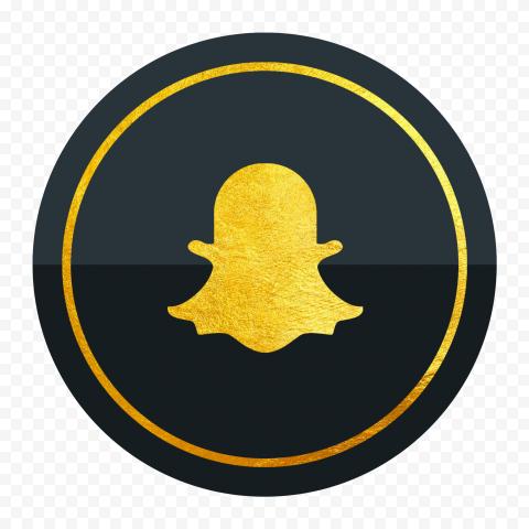 HD Luxury Snapchat Black & Gold Circle Icon PNG