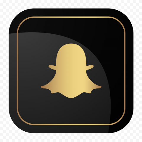 HD Snapchat Square Luxury Black & Gold Logo Icon PNG