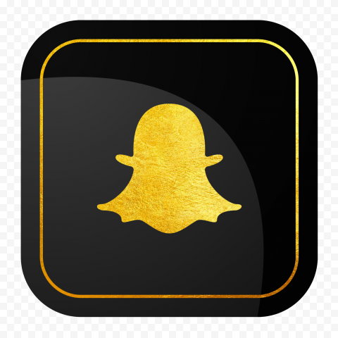 HD Snapchat Square Luxury Black & Gold App Logo Icon PNG