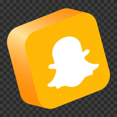 HD Snapchat Yellow 3D Isometric Square App Logo Icon PNG