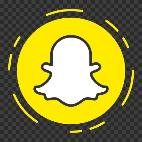 HD Snapchat Yellow Round Icon Dashed Border PNG Image