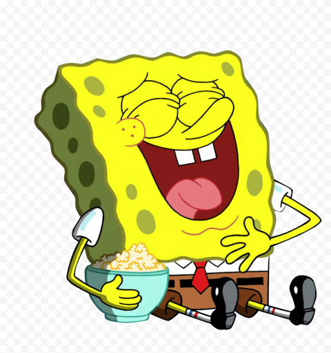 HD Spongebob Laughing Watching Movies Character Transparent PNG
