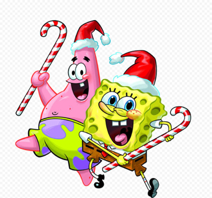 HD Spongebob And Patrick Christmas Candy Hat Characters Transparent PNG