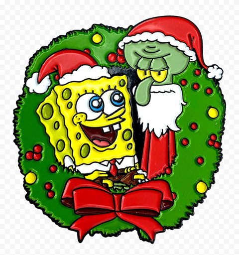 HD Spongebob And Squidward Merry Christmas Characters Transparent PNG