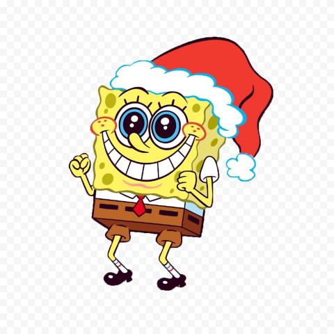 HD Spongebob Christmas Happy Santa Hat Character Transparent PNG