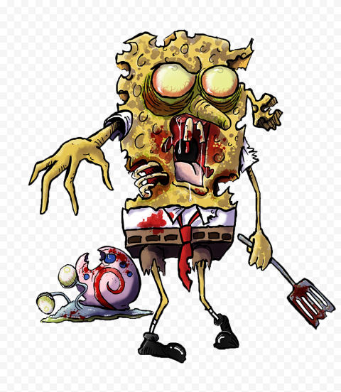 HD Spongebob And Gary Zombies Characters Transparent PNG