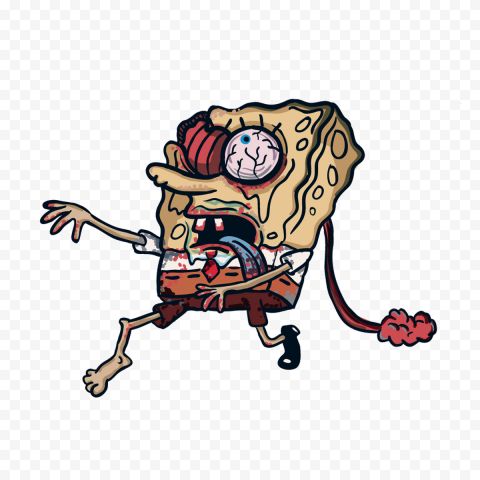 HD Spongebob Zombie Walking Characters Transparent PNG