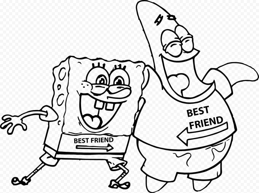 HD Spongebob Outline Patrick Best Friend Character Transparent PNG