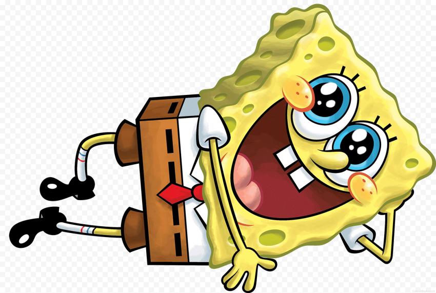 HD Spongebob Sitting Lying Down Charactrer Transparent PNG