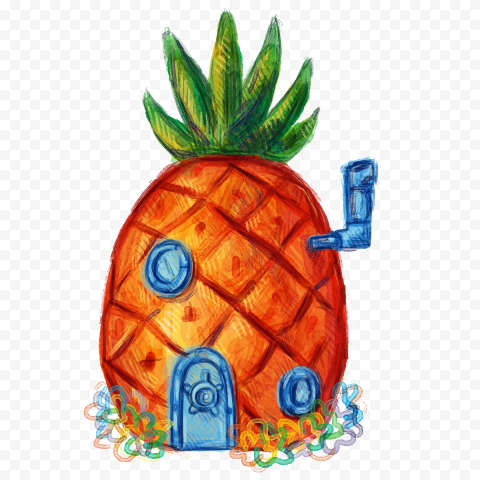 HD Spongebob Pineapple House Hand Draw Illustration PNG
