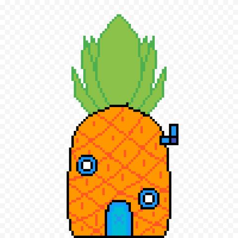 HD Spongebob Pineapple House Pixel Art Transparent PNG