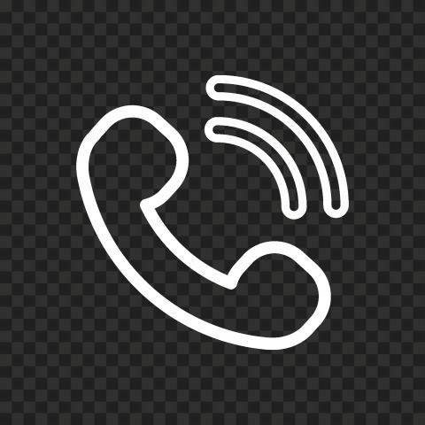 HD White Outline Phone Icon PNG