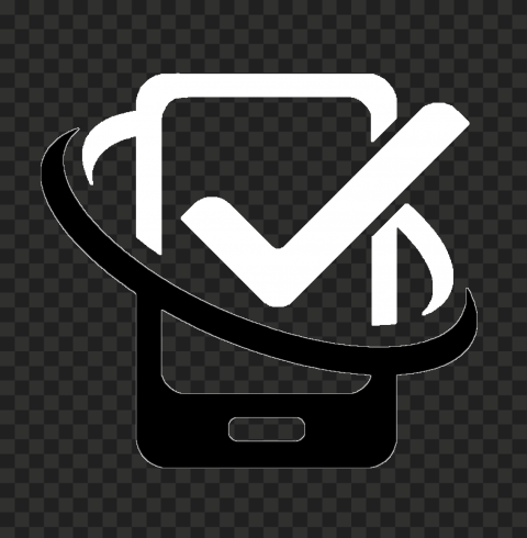 HD Black & White Phone With Check Mark Logo Icon PNG