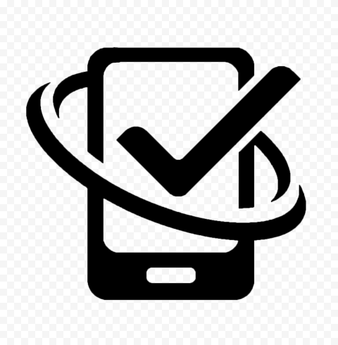 HD Black Phone With Check Mark Logo Icon PNG