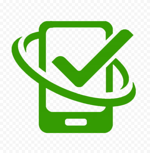 HD Green Phone With Check Mark Logo Icon PNG