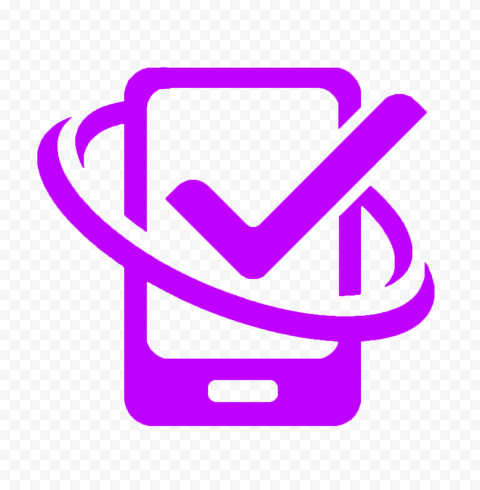 HD Purple Phone With Check Mark Logo Icon PNG