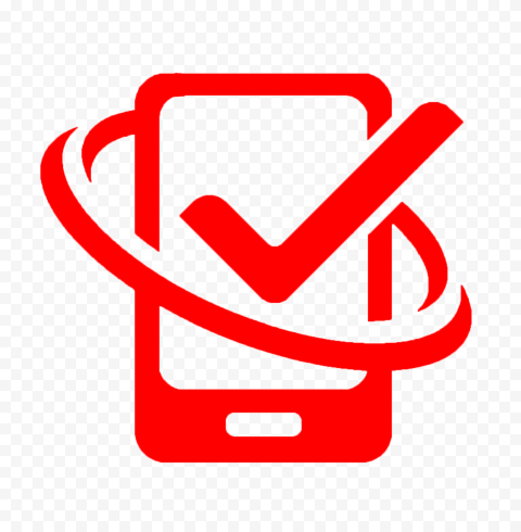 HD Red Phone With Check Mark Logo Icon PNG