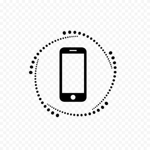 HD Black Phone Outline Logo Transparent PNG