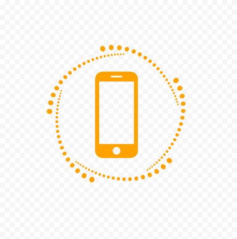 HD Orange Phone Outline Logo Transparent PNG