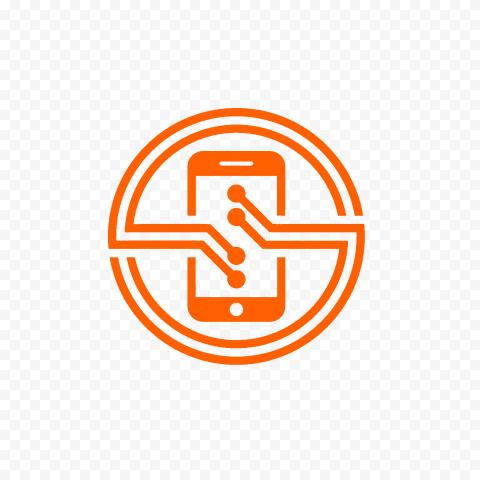 HD Orange Phone Round Circle Logo Transparent PNG