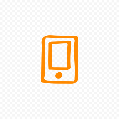 HD Orange Hand Draw Mobile Icon Transparent PNG