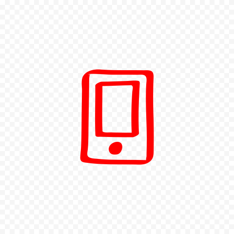 HD Red Hand Draw Mobile Icon Transparent PNG