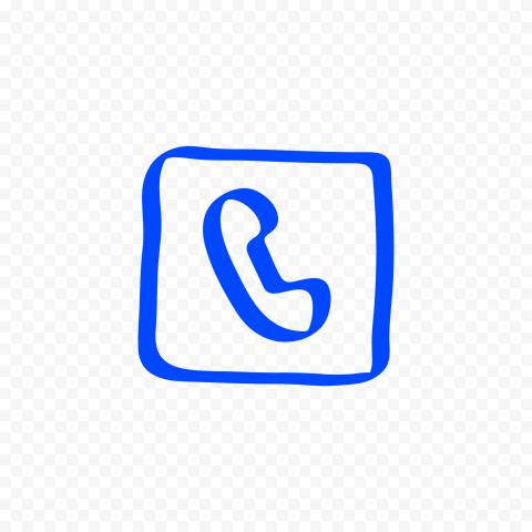 HD Blue Hand Draw Square Phone Icon Transparent PNG