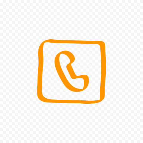HD Orange Hand Draw Square Phone Icon Transparent PNG
