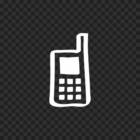 HD White Hand Draw Old Cell Phone Icon PNG