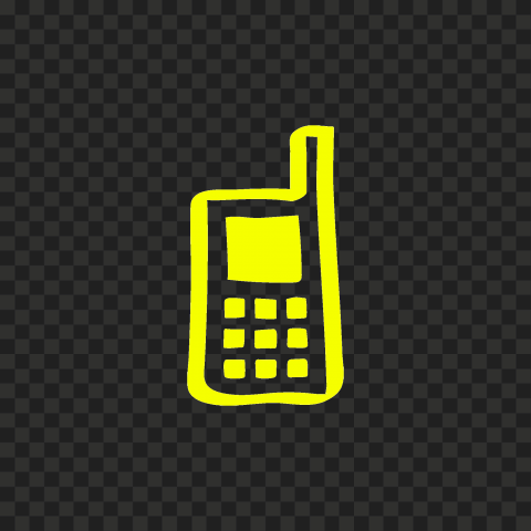 HD Yellow Hand Draw Old Cell Phone Icon PNG
