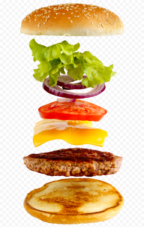 Floating Open Cheeseburger Flying Ingredients Photography PNG Image