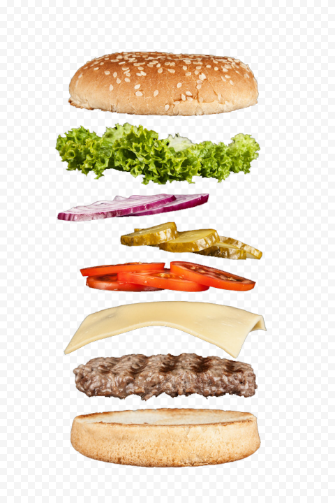 HD Floating Open Cheese Burger Flying Ingredients Photography PNG Image