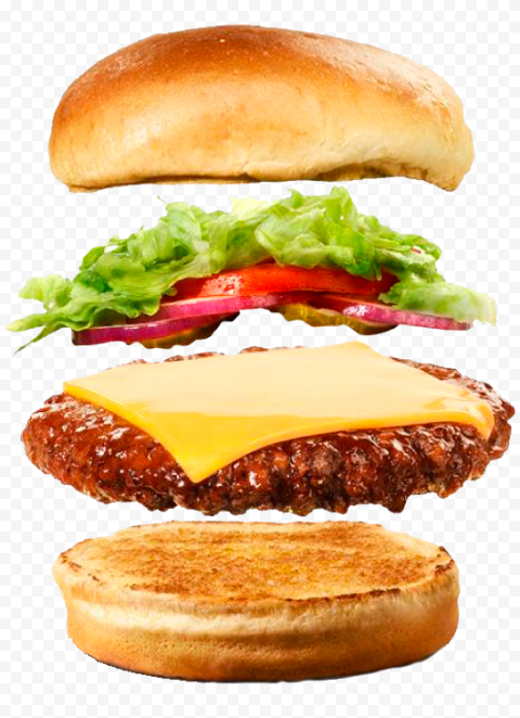 Floating Flying Cheeseburger Food Ingredients PNG Image