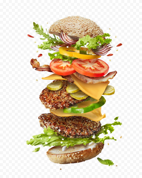 HD Floating Flying Ingredients Of Double Cheeseburger PNG Image