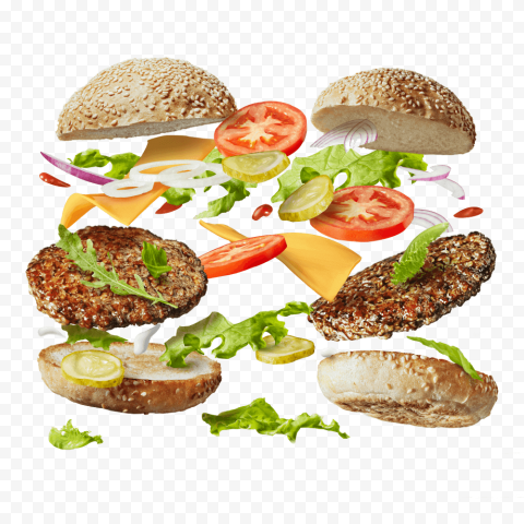 HD Two Floating Falling Cheeseburger PNG Image