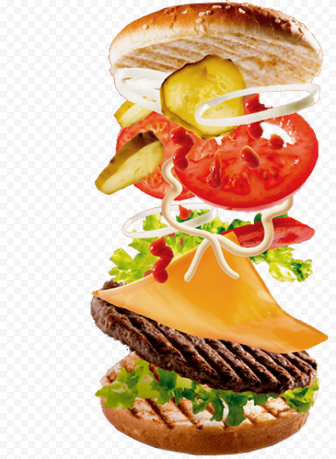Open Cheeseburger Floating Falling Ingredients PNG Image