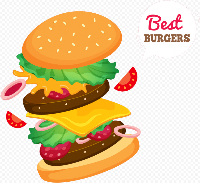 Cartoon Illustration Double Cheeseburger Floating Ingredients PNG Image