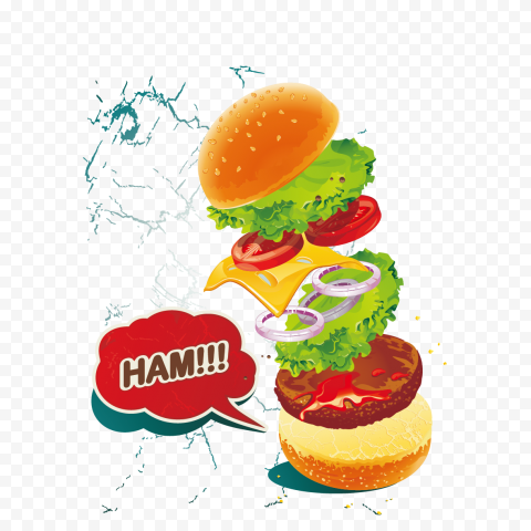 HD Cartoon Cheeseburger Floating Flying Ingredients Illustration PNG Image